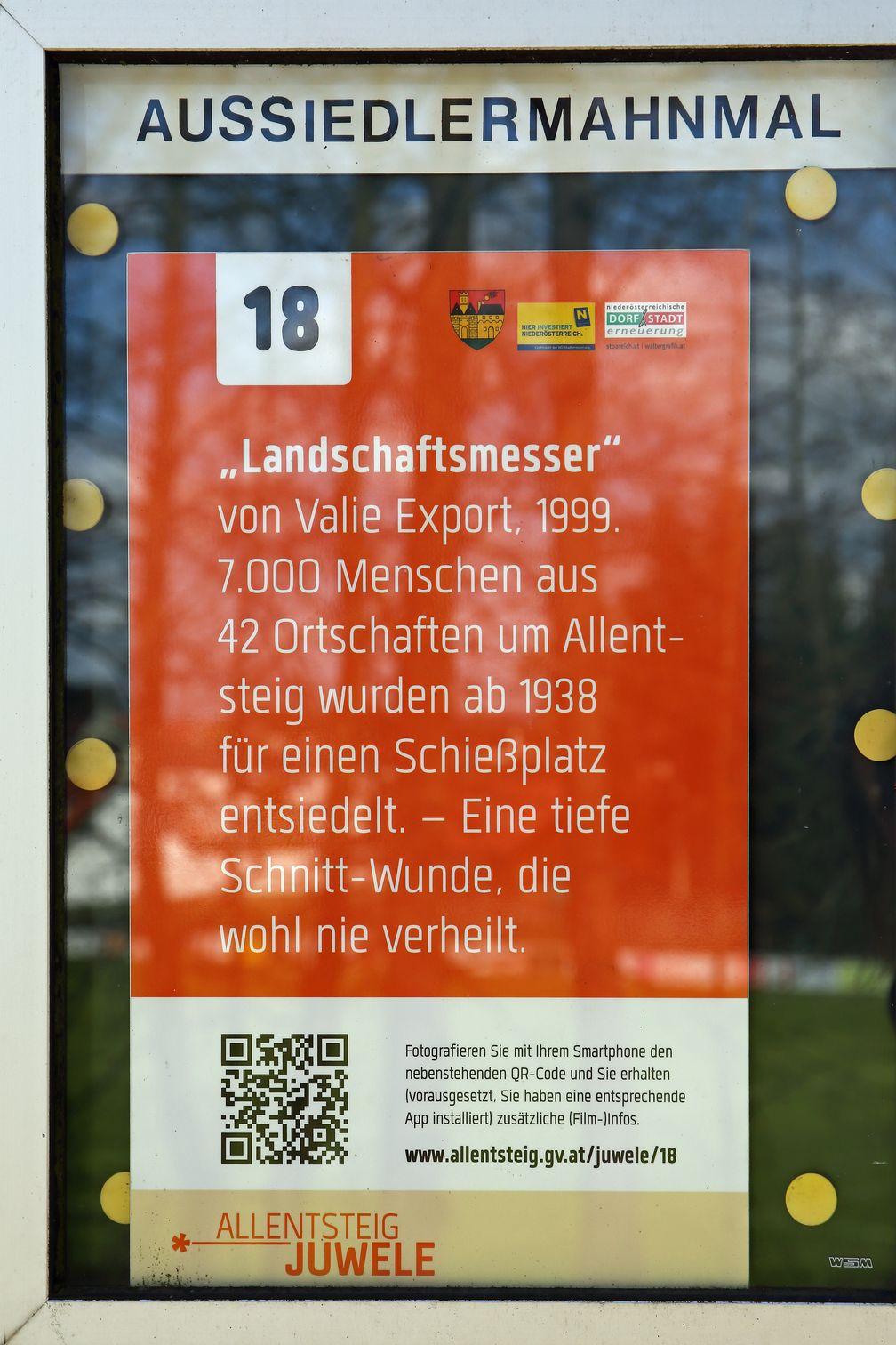 Valie Export Aussiedlerdmahnmal in Niederösterreich