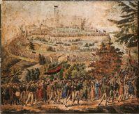 """Der Zug zum Hambacher Schloss 1832 mit den Fahnenfarben """"€žgold-rot-schwarz"""""""