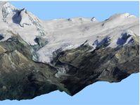 Virtuelle, dreidimensionale Ansicht des Findelgletschers bei Zermatt basierend auf den Laserdaten von 2005, überlagert mit einem Luftbild aus 2006 swisstopo (reproduziert mit Bewilligung von swisstopo BA091673)