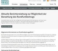 """Screenshot von der Webseite: """"www.rundfunkbeitrag.de"""""""