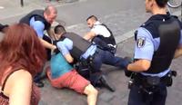 "Screenshot aus dem Video ""brutaler Polizeiübergriff, 5. Juli 2014, Berlin Kreuzberg (Görlitzer Park) / Ohlauer Straße"""