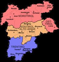 Historisches Tirol: Nord- und Osttirol (Österreich); Südtirol und Welschtirol (Italien)