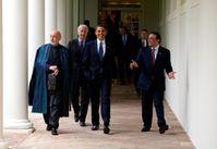Hamid Karzai, Joe Biden, Barack Obama und Zardari (2009), Archivbild