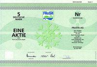 Aktie der Frosta AG über 5 DM, Bremerhaven, Juli 1997 (Symbolbild)