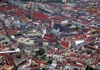Luftbild der Münchner Altstadt