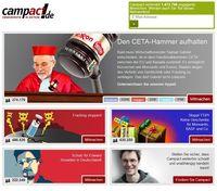 Screenshot der Webseite von www.campact.de