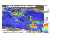 Durchschnittliche Absenkungsrate im Großraum Teheran in den Jahren 2015 bis 2017 basierend auf Daten des Sentinel-Satellitensystems. Quelle: Quelle: Haghshenas Haghighi und Motagh, 2018(GFZ) (idw)