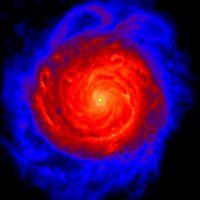 100'000 Lichtjahre später ist eine dichte Scheibe entstanden mit einer supermassiven Wolke im Zentrum. Bild: UZH