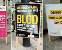 Wahlkampfplakate: Volksfrage an Politiker: Für für blöd haltet ihr uns?
