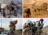 Collage aus Bildern des Krieges gegen den Terror.