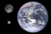 Erde, Mond und Zwergplanet Ceres im Vergleich. Aus der Analyse der Zeitreihenmessungen von Pulsaren ergibt sich für Ceres eine Masse von 4.7×10-10 Sonnenmassen; das sind 1,3% der Masse des Erdmonds. Quelle: Gregory H. Revera, NASA/JPL-Caltech/UCLA/MPS/DLR/IDA (idw)