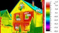 Bauthermografie: Thermografie einer Gebäudewand