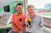 "Moderator Yorck Polus und ZDF-Paralympics-Experte Matthias Berg im ZDF-Studio im Rahmen der Sommer-Paralympics 2016 in Rio de Janeiro. Bild: ""obs/ZDF/Kay Nietfeld"""