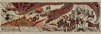 Der Sieg von Daenerys Targaryen in der Schlacht auf dem Goldweg über ein Lennister-Heer. Darstellung auf dem offiziellen Game-of-Thrones-Wandteppich (nach dem Vorbild des Wandteppichs von Bayeux; ausgestellt im Ulster Museum in Belfast, Nordirland).