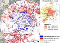 Stilllegung und Rekultivierung landwirtschaftlicher Fläche in der Tschernobylregion zwischen 1986 und 2006 (große Karte) in der ukrainisch-weißrussischen Grenzregion (kleine Karte oben links) Quelle: Karte: Hostert et. al 2011 (idw)