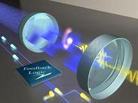 """Visualisierung des Regelkreises: Ein einzelnes, zwischen zwei hoch reflektierenden Spiegeln gefangenes Atom verrät seine Position über die Aussendung einzelner Photonen (gelbe Wellenpakete). Diese Photonen werden in elektrische Pulse umgewandelt (gelbe Kügelchen), die von einer Regelungselektronik in Echtzeit ausgewertet werden. Der resultierende elektrische Strom (blaue Kügelchen) wiederum reguliert die Intensität eines blauen Lasers (blaue """"Mulde""""). Dieser Regelkreis """"schaukelt"""" das Atom in Abhängigkeit von seiner jeweils gemessenen Position. Bild: MPQ-Abteilung Quantendynamik"""