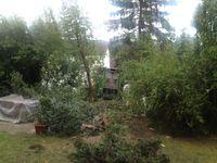 So kam der LKW halb im Garten - halb am Haus zum Stehen.
