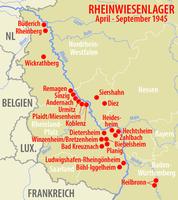 Karte der Rheinwiesenlager: Hier liesen die Allierten Millionen Deutsche verhungern.
