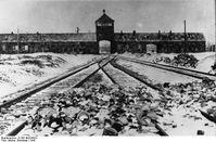 Einfahrtsgebäude ins KZ Auschwitz-Birkenau kurz nach der Befreiung 1945