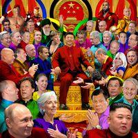 Xi Jinping mit Regierungschefs vieler Länder, Collage (2021)