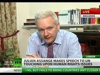 """Screenshot aus dem Youtube Video """"Julian Assange addresses UN on human rights"""""""