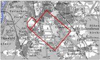Lageplan des Messgebietes der 3D-Seismik Kartengrundlage: DTK25, Quelle: Landesamt für Vermessung und Geoinformation, München