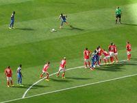 Verwendung des Freistoßsprays bei der WM 2014