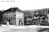 Gründungsort der Antiautoritären Internationale: Hôtel de la maison de Ville in Saint-Imier. Die Herberge wurde später in Hôtel Central umbenannt und in den 2000ern entkernt.