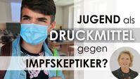 """Bild: Screenshot Video: """"Jugend als Druckmittel gegen Impfskeptiker?"""" (www.kla.tv/19521) / Eigenes Werk"""
