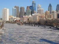 Kältewelle in Nordamerika 2014: Ice formations on the Schuylkill River in Philadelphia
