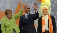 Heinrich Bedford-Strohm, Angela Merkel und Barak Obama (2017) (Symbolbild)