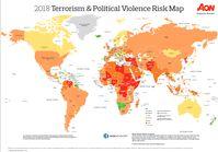 Karte für die Wahrscheinlichkeit von Terroristischen Anschlägen und Politisch Motivierten Verbrechen (2018)