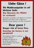 Warntafel mit der höchsten Warnstufe auf einem Campingplatz in Deutschland