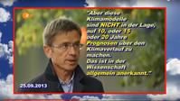 """Dieser O-Ton von Rahmstorf wurde NICHT im """"analogen"""" TV des ZDF ausgestrahlt, sondern wurde nur in einem Internet-Videobeitrag auf www.heute.de im September 2013 verfügbar gemacht. Deswegen steht in der Bauchbinde bei der Namenseinblendung zu lesen: """"heute.de"""""""