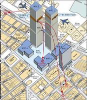 Fundstellen von Trümmerteilen der beiden Flugzeuge in NYC
