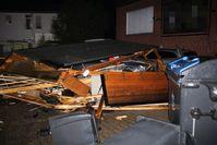 Audi kracht in Carport Bild: Polizei