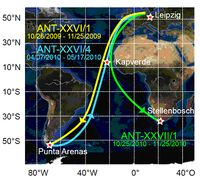 Darstellung der Orte und Schiffsrouten, an denen Daten für die Studien vom IfT gesammelt wurden. Bild: Thomas Kanitz/IfT (idw)