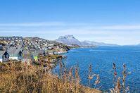 Der Ort Nuuk in der Großkommune Ermersooq auf Grönland (Grünland)