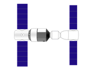 Zeichnung von Tiangong 1 (links) mit angedocktem Shenzhou-Raumschiff (rechts). Bild: Craigboy / wikipedia.org