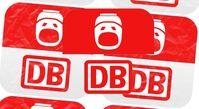 Kritiker sehen im gespiegelten Logo im oberen Teil das typische Gesicht der Bahn-Kunden (Symbolbild)