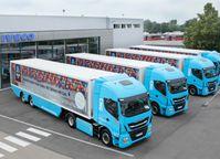 """Die Unternehmensgruppe ALDI SÜD testet vier Erdgas-Lkw im täglichen Warenverkehr. Über eine Dauer von fünf Jahren soll sich zeigen, inwiefern sich die klimaschonende Antriebstechnologie als Alternative zu Diesel-Modellen nutzen lässt. Bild: """"obs/Unternehmensgruppe ALDI SÜD/ALDI SÜD"""""""