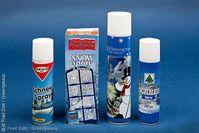Giftige Schneesprays. Vier der sechs getesteten Schneesprays, die als Weihnachtsdekoration verwendet werden, enthalten krebserzeugende Substanzen in erhöhten Konzentrationen.  Bild: Fred Dott / Greenpeace