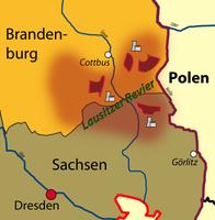 Lausitzer Revier mit Kraftwerken und Braunkohleabbaugebieten, bis 1990 erstreckte es sich auch weiter südlich bis zum Dreiländereck mit Polen und Tschechien