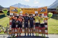 Podium Etappe 3:Cattaneo, Longo, Stiebjahn, Huber, Kaufmann, Käß