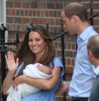 The Duke and Duchess of Cambridge with their son the day after his birth