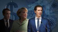 Bild: Macron/Kremlin.ru; Merkel/Flickr, Alexis Zipras, CC BY-SA 2.0; Virus/Geld: Pixabay; Kurz: Parlamentsdirektion / Zinner; Bildkomposition: Wochenblick.
