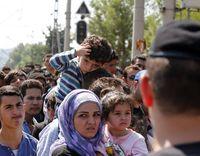 Flüchtlingsströme am Grenzübergang Gevgelija, Mazedonien, 24. August 2015