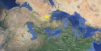 Syrien auf einer Karte nach alter Süd-Nord Ausrichtigung.
