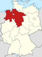 Lage von Niedersachsen in Deutschland