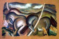 Franz Marc: Pferde in Landschaft, aus dem Münchner Kunstfund